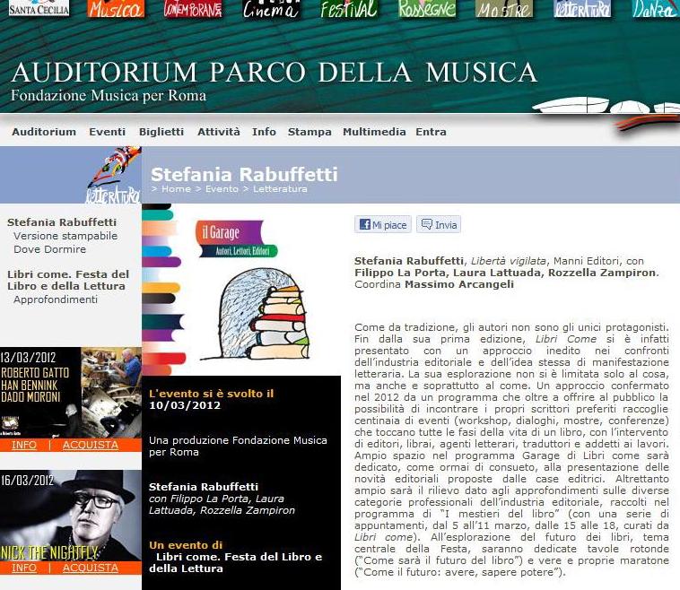 Auditorium.com - Festa del Libro - Sabato 10 Marzo 2012