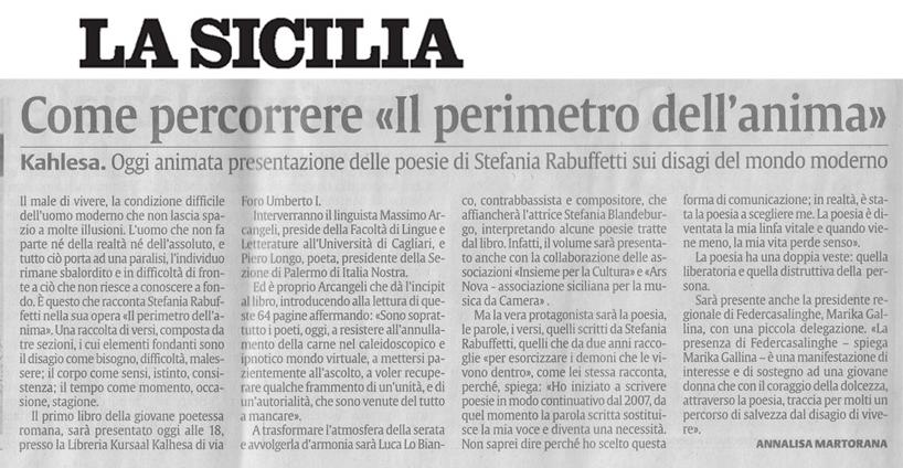 La Sicilia - Sabato 5 Dicembre 2009