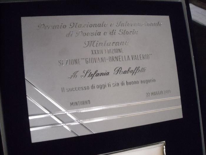 22/05/2010 - Vincitrice Premio MINTURNAE di POESIA e STORIA XXXIV ed.
