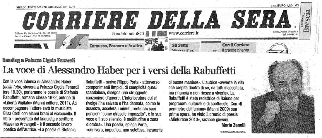 Corriere della Sera ed. Brescia - Mercoledi 28 Marzo 2012