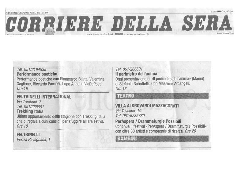 Corriere della Sera - Martedi 22 Giugno 2010