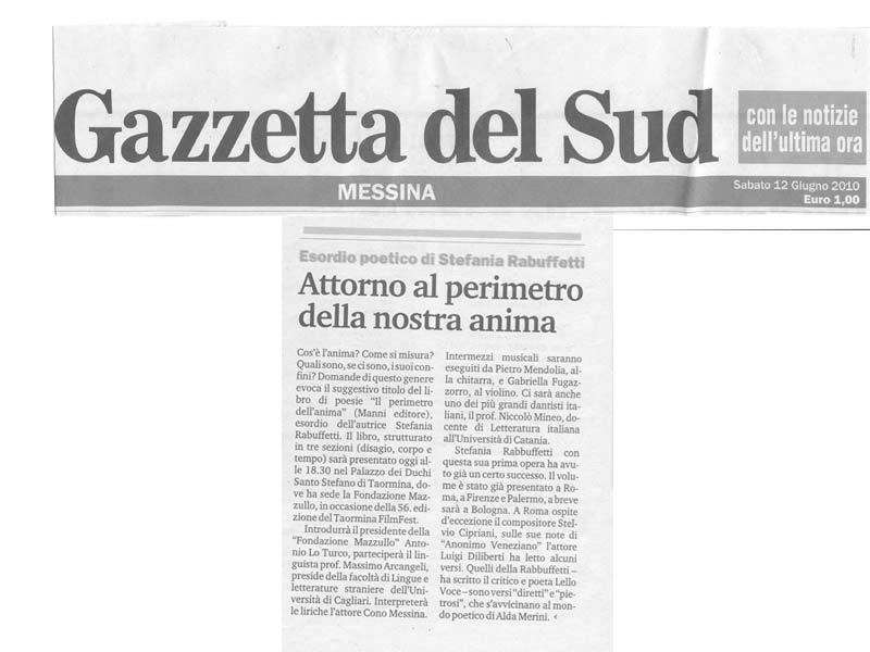 Gazzetta del Sud - Sabato 12 Giugno 2010