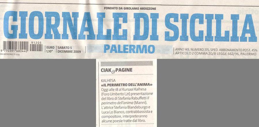 Giornale di Sicilia- Sabato 5 Dicembre 2009