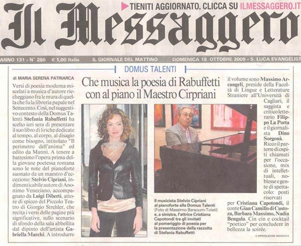 Messaggero - Domenica 18 Ottobre 2009