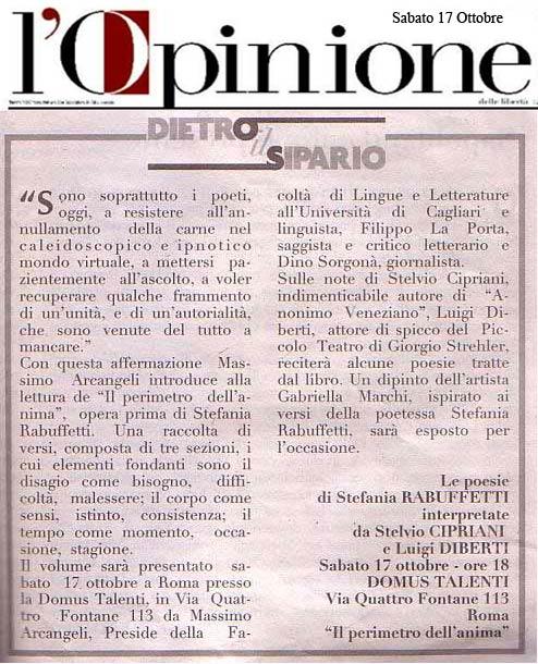 L'Opinione - Sabato 17 Ottobre 2009