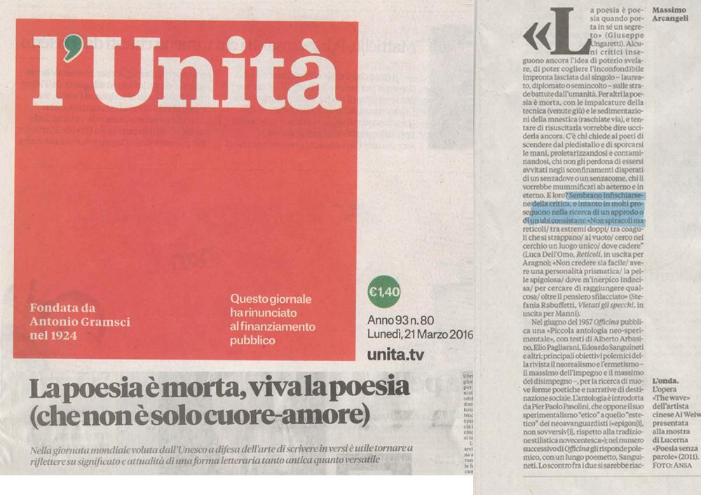 Unità - Lunedi 21 marzo 2016
