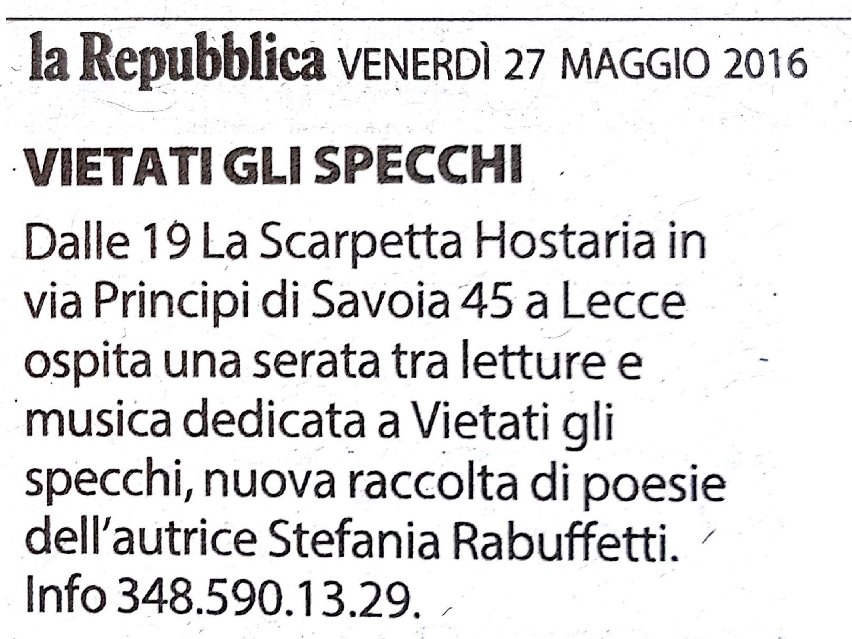 La Repubblica - 27 maggio 2016